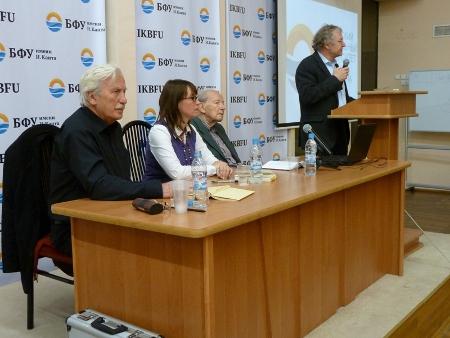 Lesung an der Kantuniversität - Arno Surminski, Stephanie Kuhlmann, Hans Graf zu Dohna (von links)