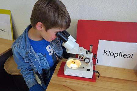 Leo ist begeistert: Er hat eine Inkluse durchs Mikroskop entdeckt.
