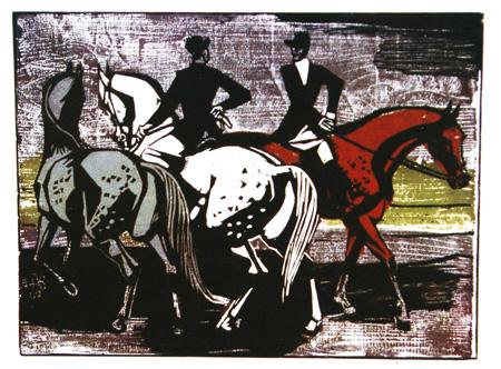 Eduard Bischoff: Reiter, 1960, Holzschnittfolge