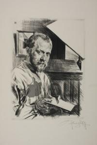 Heinrich Wolff, Selbstbildnis, Radierung um 1910